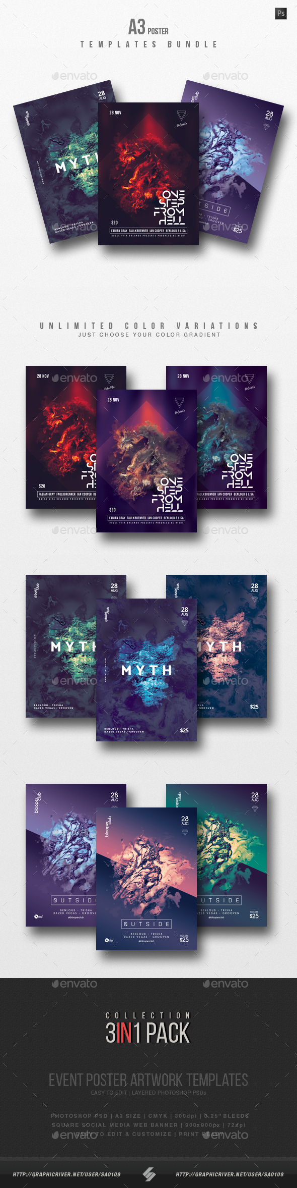 GraphicRiver Progressive Sound vol.10 Party Flyer Poster Templates Bundle 21074423