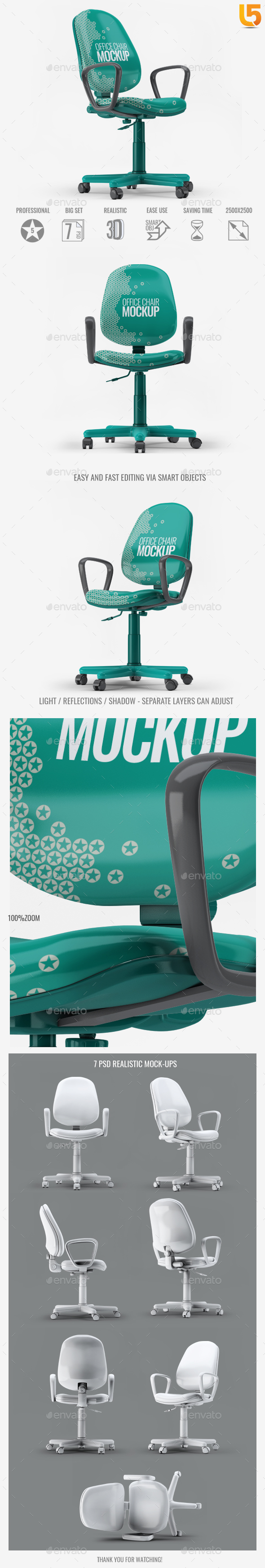 GraphicRiver Office Chair Mock-Up 21074430