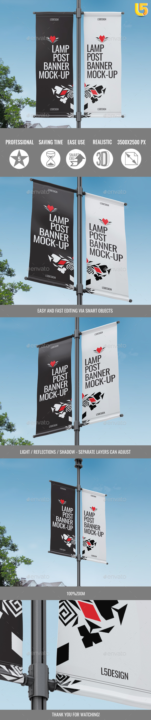 Lamp Post Banner Mock-Up - Signage Print