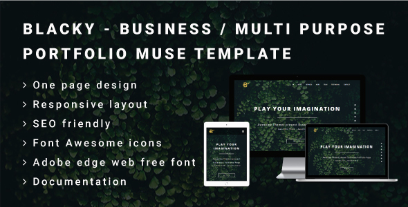BLACKY - Business or Multi Purpose Portfolio Muse Template - Landing Muse Templates