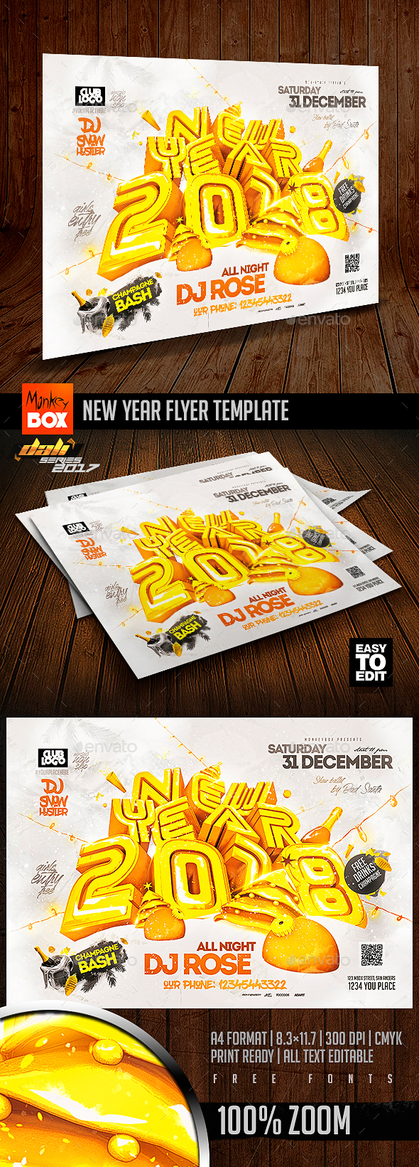 New Year Flyer Template - Flyers Print Templates