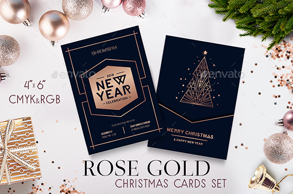 GraphicRiver Rose Gold Merry Christmas Cards Set 21074731
