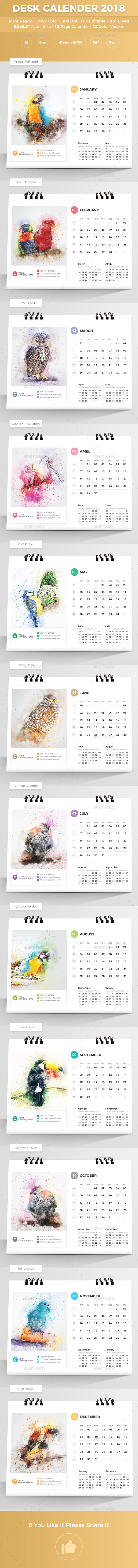 Desk Calender 2018 - Calendars Stationery
