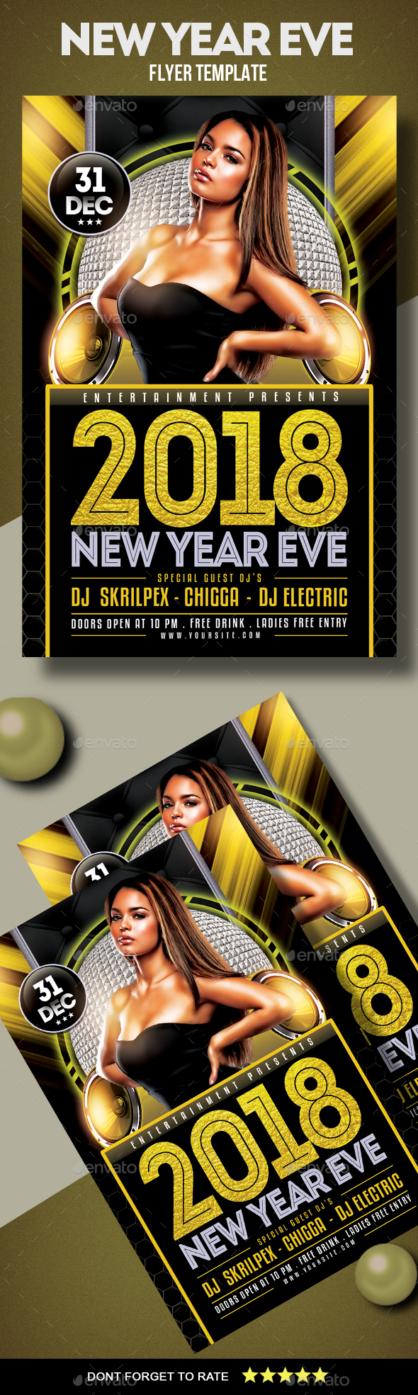 GraphicRiver 2018 New Year Eve Flyer 21075031
