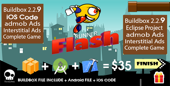 Runner Flash complete package + Buildbox file + Android file + ios code