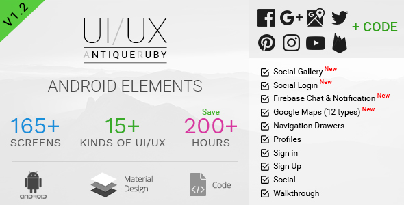 Antiqueruby - Android Material Design UI Components - CodeCanyon Item for Sale