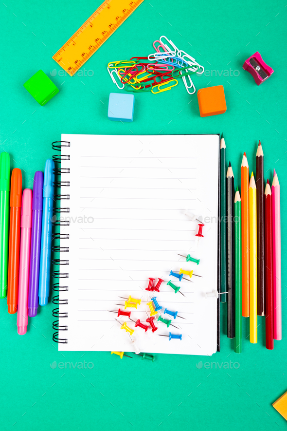 School Supplies. Concept Back to School. Top View. Flat Lay. - Stock Photo - Images