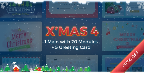 X'mas 4   Holiday Template + Greeting Card - Newsletters Email Templates