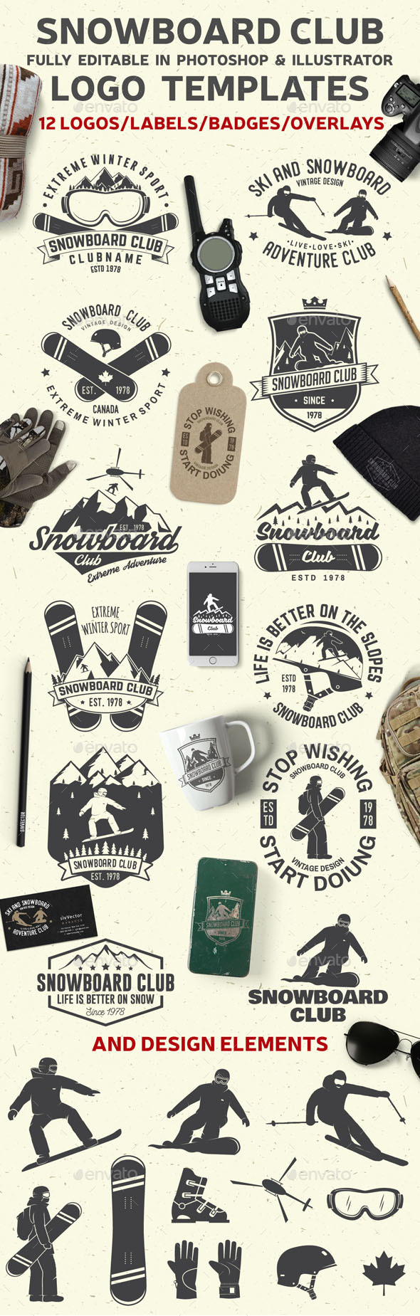 GraphicRiver Snowboard Club Badges 21076010