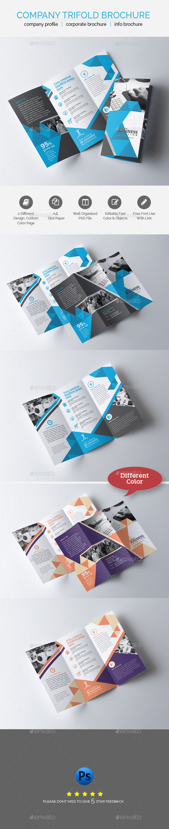 GraphicRiver Professional Business Trifold Brochure Template 21076111