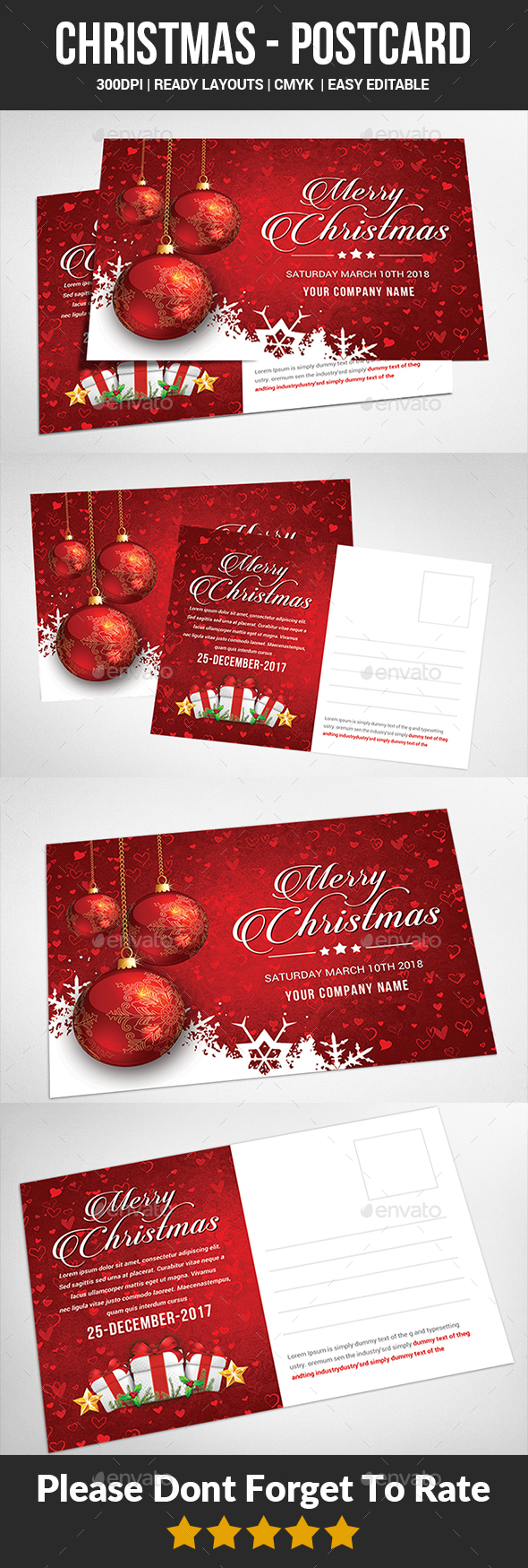 GraphicRiver Christmas Postcard Templates 21076237