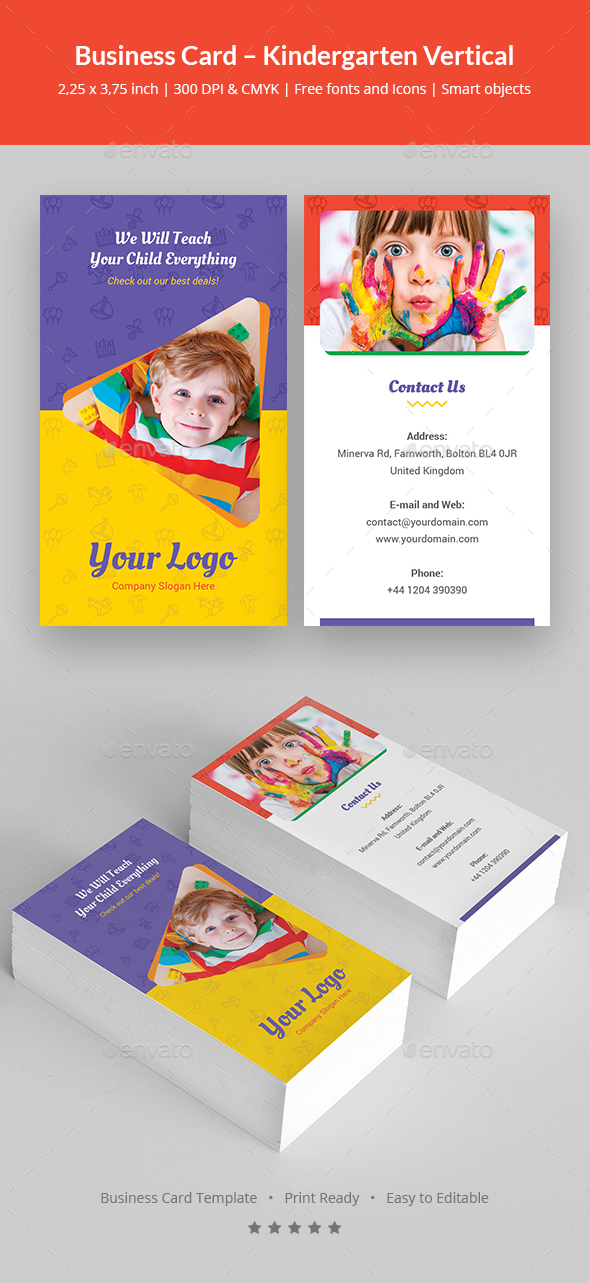 GraphicRiver Business Card Kindergarten Vertical 21076278