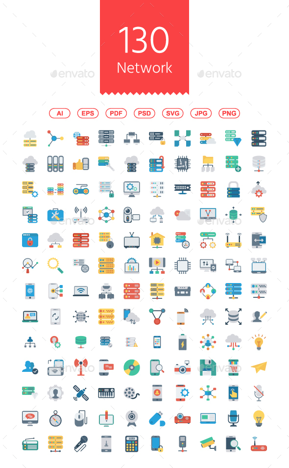 130 Network and Technology Flat icon - Media Icons