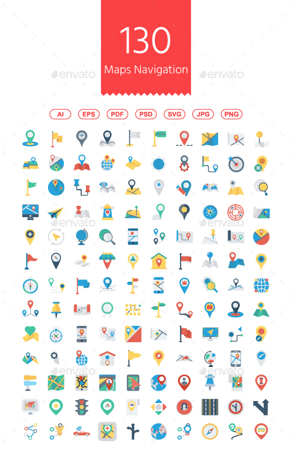 GraphicRiver 130 Maps and Navigation Flat icons 21076364