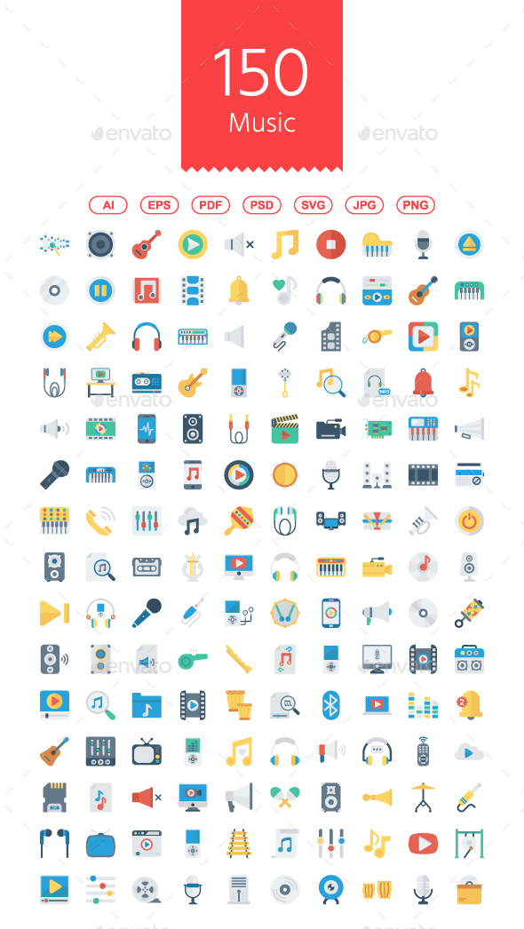 GraphicRiver 150 Music Audio Video Flat Icons 21076371