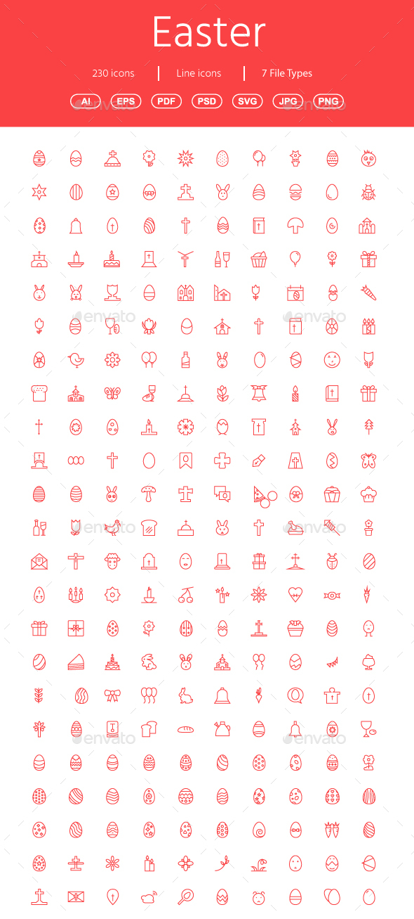 GraphicRiver 230 Easter line icons 21076385
