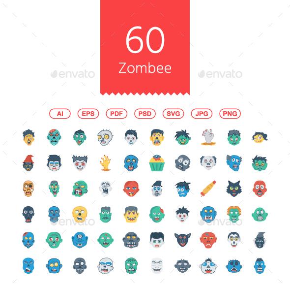 60 Halloween Zombee Flat Icons - Web Icons