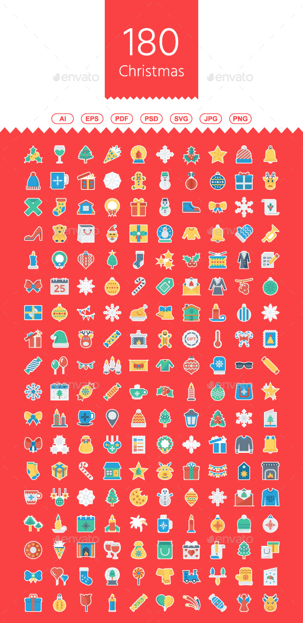 GraphicRiver 180 Christmas Sticker Icons 21076395