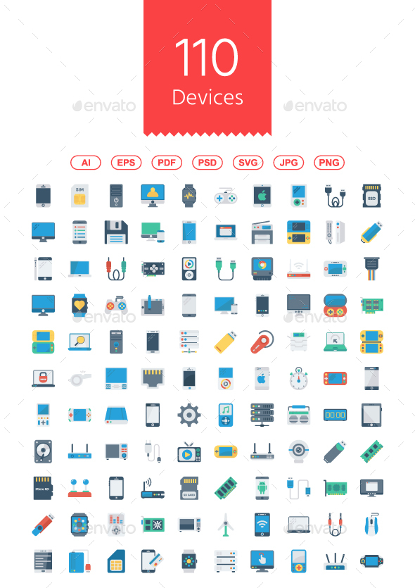 GraphicRiver Devices Flat Icons 21076399