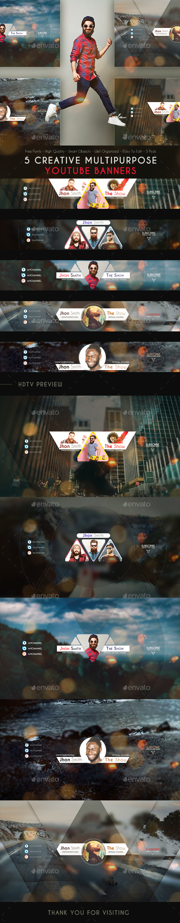 GraphicRiver Creative MultiPurpose YouTube Banners 21076488