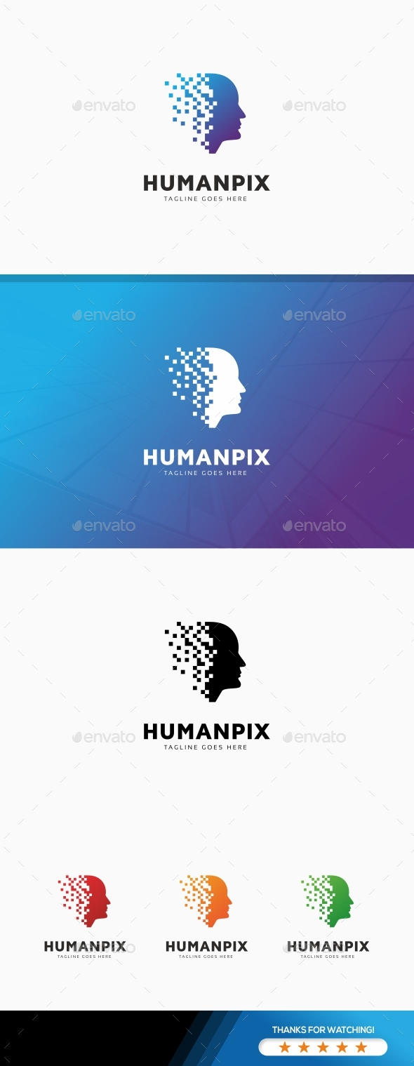 Human Pixel Digital Logo - Humans Logo Templates