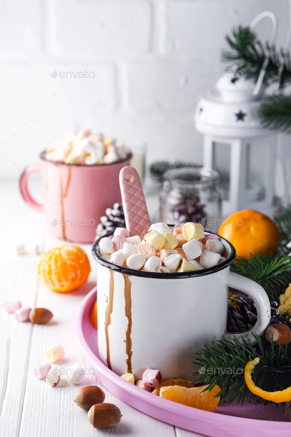 two cups with hot chocolate or cocoa with melted marshmallow - Stock Photo - Images