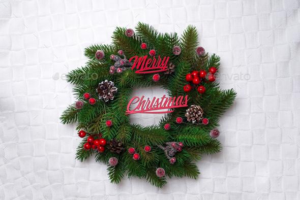 Christmas wreath, isolated on white - Stock Photo - Images