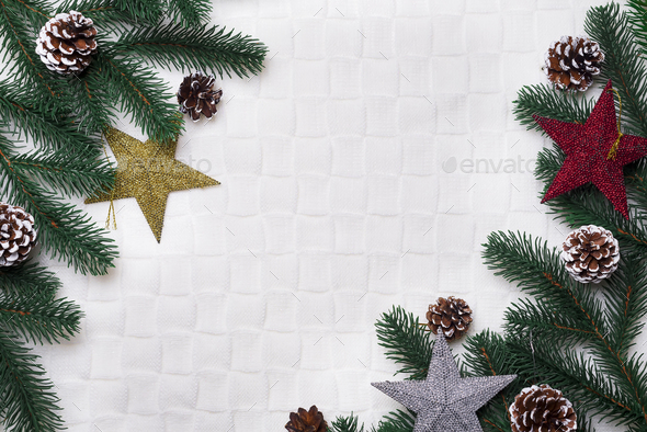 Christmas background with decorations. - Stock Photo - Images