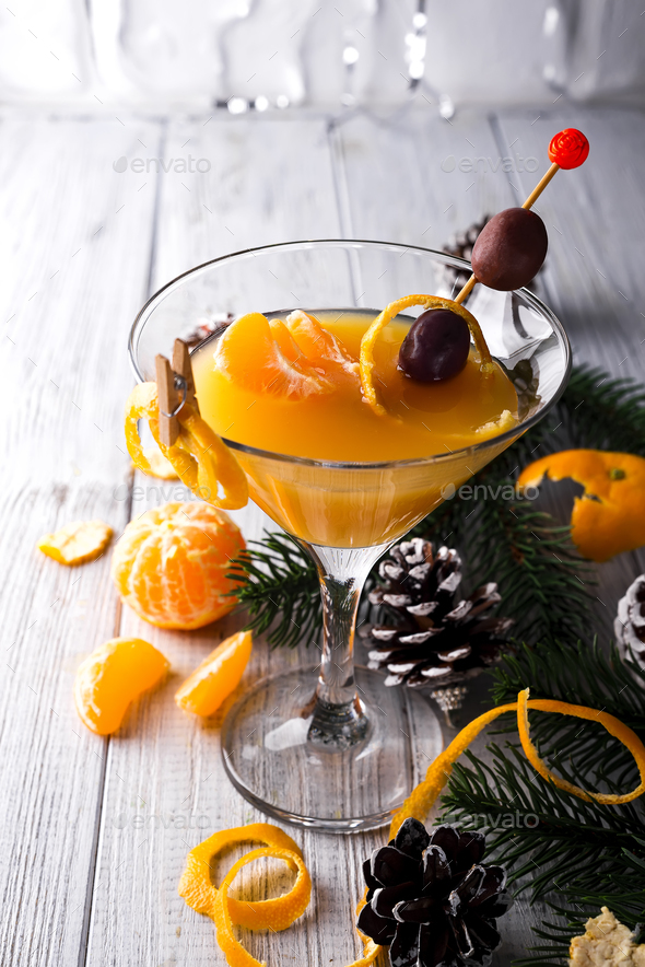 Mandarin martini in a glass of New Year - Stock Photo - Images