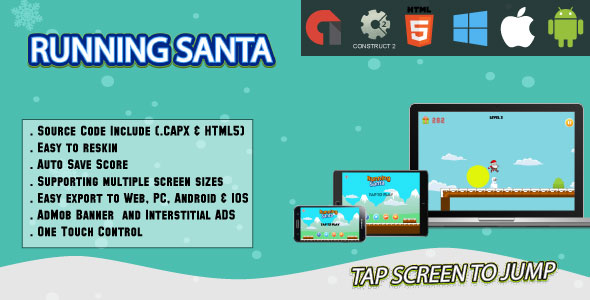 CodeCanyon Running Santa Full Screen HTML5 Game Web Android & IOS & AdMob CAPX 21076903