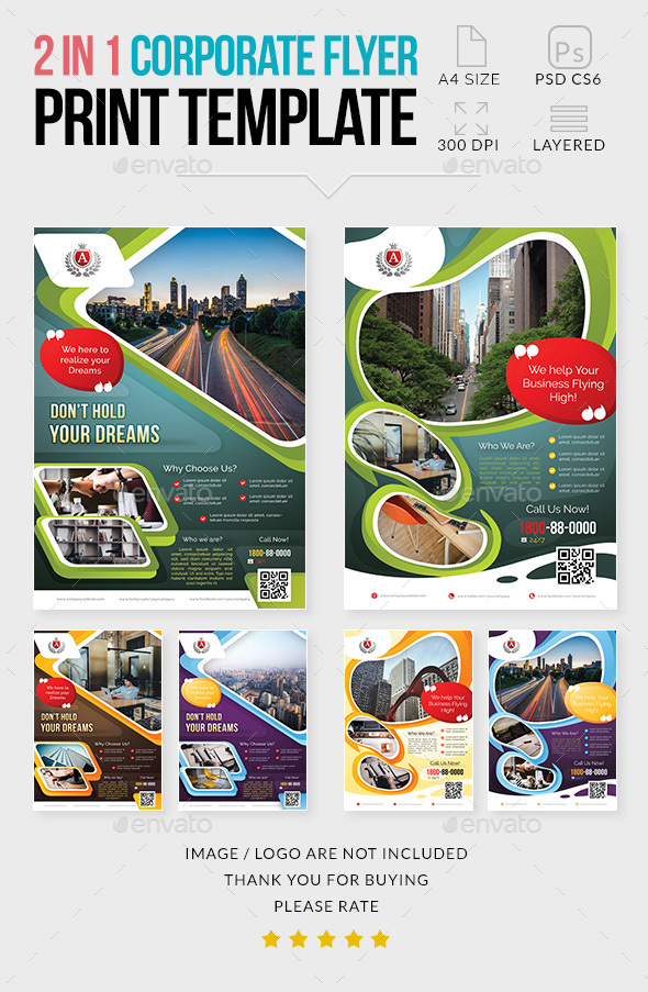 GraphicRiver Multipurpose Corporate Flyer 2 in 1 21077022