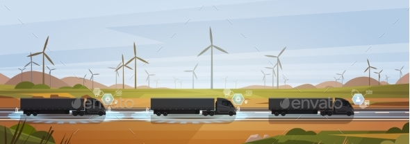GraphicRiver Group Of Black Cargo Truck With Trailers Driving 21077068