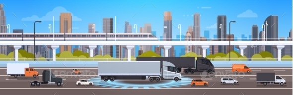 GraphicRiver Modern Highway Road With Cars Lorry And Cargo 21077070