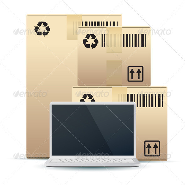 Laptop with Cardboard Boxes Isolated on White - Concepts Business