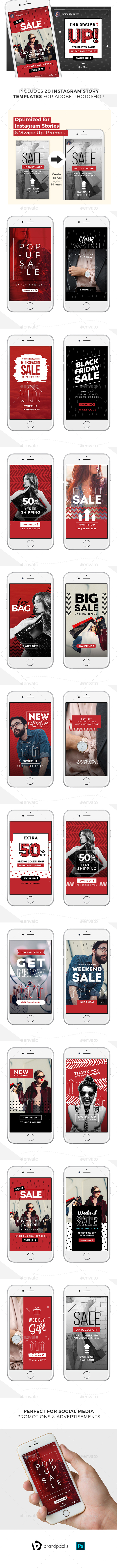 GraphicRiver Swipe Up Instagram Story Templates Pack 21077370