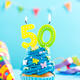 Fiftieth 50th birthday cupcake with candle. Card mockup. - PhotoDune Item for Sale