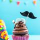 Cupcake with mustache,birthday card mockup - PhotoDune Item for Sale