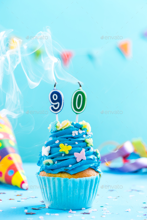 Ninetieth 90th birthday cupcake with candle blow out.Card mockup - Stock Photo - Images