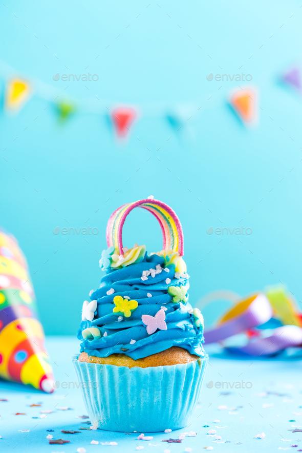 Blue cupcake, celebration card mockup - Stock Photo - Images