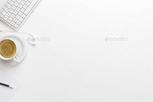 Keyboard With Coffee Cup And Earphones On White Desk - Stock Photo - Images