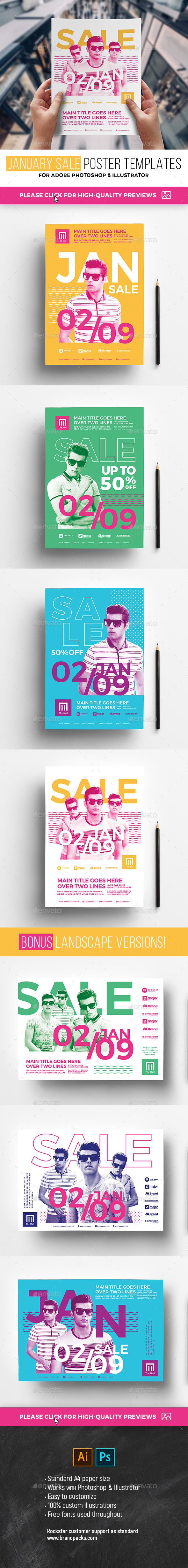 January Sale Poster Templates - Commerce Flyers