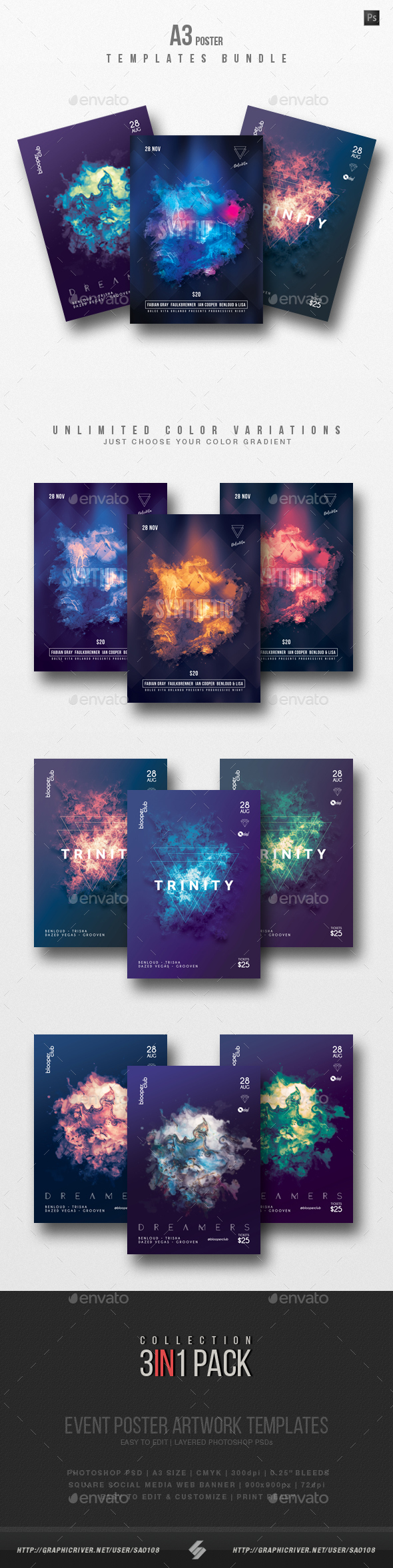 GraphicRiver Progressive Sound vol.11 Party Flyer Poster Templates Bundle 21077573