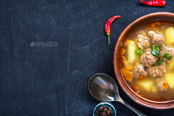 soup with meat balls - Stock Photo - Images