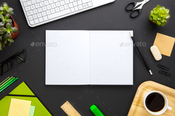 Blank Documents Surrounded By Office Supplies On Gray Desk - Stock Photo - Images