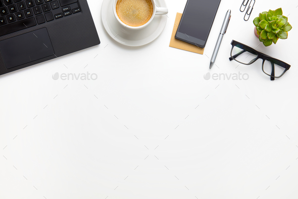 PC With Coffee Cup, Eyeglasses And Smartphone On White Desk - Stock Photo - Images