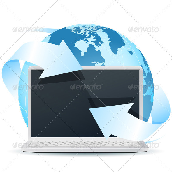 Modern Laptop with Earth Globe Isolated on White - Concepts Business