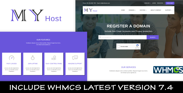 Download My Host WHMCS Hosting Template