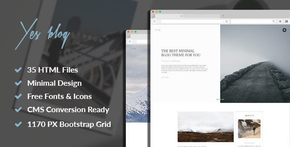 Download Yes Blog - Multipurpose Minimal Blog Design HTML Template