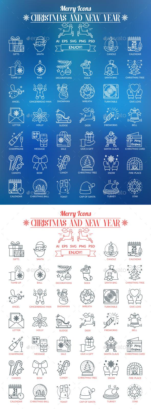 Christmas and New Year Outline Icons - Seasonal Icons