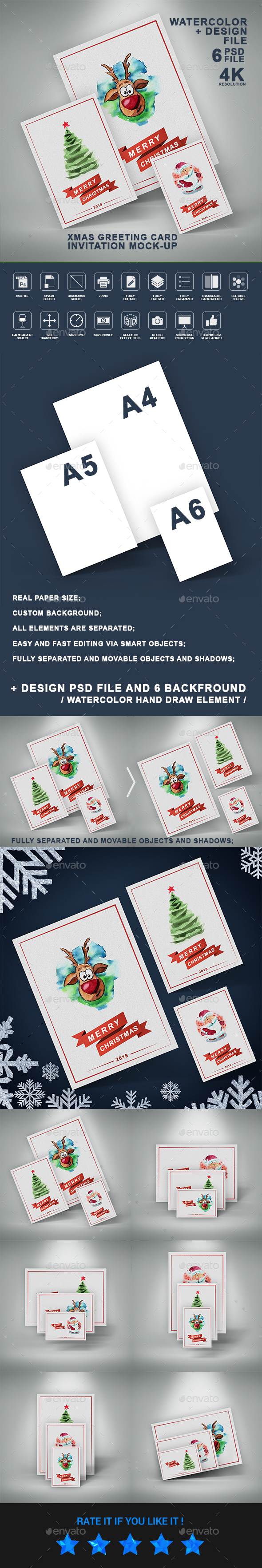 Christmas Greeting Card and Invitation Paper Flyer Mock-Up - Flyers Print
